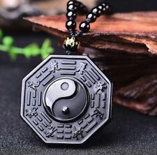 FengShui Jade-Anhänger mit 0,6meter Halskette 5x5cm 46g Amulett Obsidian TOP