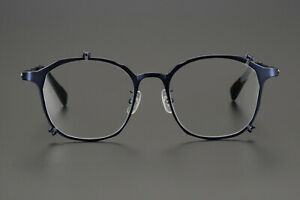 Square Titanium Frame Light Metal Prescription Glasses Metallic Eyeglasses Blue