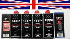 4 Genuine Original Zippo Premium  Lighter Fuel Fluid Refill 1 Wick & 6 Flints
