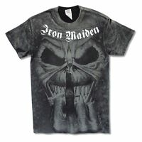 Iron Maiden Candle Finger All Over Mens Black Dye T Shirt New Official Adult