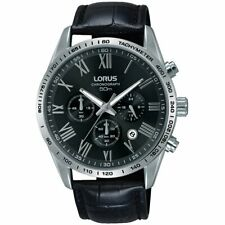 Lorus Mens Black Leather Strap Chronograph Watch RT385FX9 RRP £100
