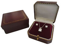 White gold finish princess cut created diamond necklace and stud earrings set