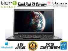 Lenovo ThinkPad X1 Carbon i7-4600U 240GB SSD 8GB Ram Windows 8.1 Laptop Webcam
