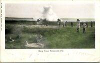 Vtg Postcard 1907 Firing Cannon Navy Yard, Pensacola Florida Hand-Colored Undiv
