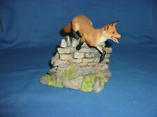 Teviotdale Scotland Red Fox Jumping Over Stone Wall Equestrian Hunting genre