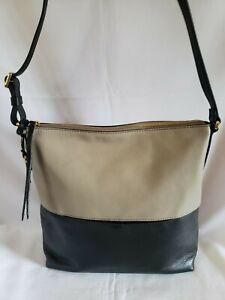 FOSSIL Charlotte Hobo Black/Taupe Shoulder Bag CB Bag ZB7585089 Brand New w/Tags