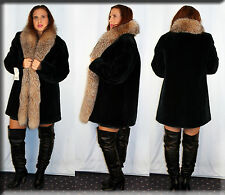 New Black Olive Sheared Beaver Fur Jacket Crystal Fox Fur Collar Size Large L