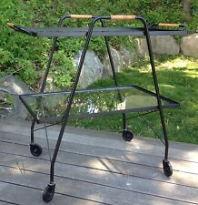 Mid Century Modern Iron Glass Tea Serving Cart Vtg Bar Minimalist Salterini Era