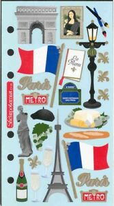 Paris France Stickers - Eiffel Tower, Arc de Triomphe, French flag, Mona Lisa