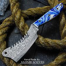 ALONZO USA CUSTOM HANDMADE DAMASCUS MINI CLEAVER  KNIFE CORELON HANDLE 16491
