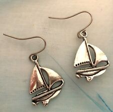 Silver Tibetan Nautical Pirate Sailing Ship Yacht Drop Earrings Free Shipping