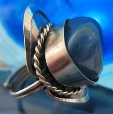 Ring Alpaka Silber Stein Achat blau aus Peru Ethno Indianer Inka Maya Stil 14