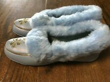 Nos Vtg 1960's Baby Blue Furry House Slippers Gold Accents from G.C. Murphys 6-7