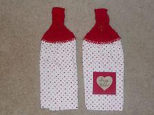 Crocheted top kitchen towels- Mini Heart Towels