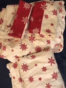 Queen bed set Snowflakes Sheet red white Home Flannel Bedsheets Christmas full s