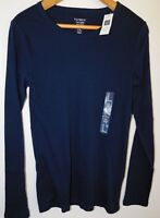 NWT GAP Women's Favorite Long Sleeve Crew T-Shirt Tapestry Blue Sizes XS NEW