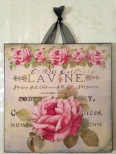 Vintage Paris Shabby Roses Sign Plaque Wall Decor French Country Chic