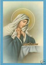 VINTAGE Catholic Large holy card Sorrowful Mary w/ Jesus' thorns - Postcard size