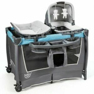 4-in-1 Convertible Portable Baby Play yard w/Toys & Music Player-Blue