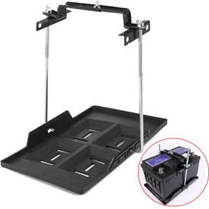 Car Storage Battery Tray Holder+Adjustable Hold Down Clamp Screw Rod Length 23cm