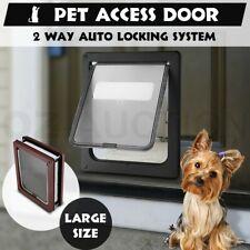2 Way Lockable Large Size Locking Pet Cat Dog Safe Security Brushy Flap Door BK