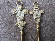 A pair vintage brass toasting fork and a poker with  Prince of Wales's feathers