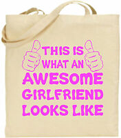 Awesome Girlfriend Large Cotton Tote Shopping Bag Canvas Girls Day Funny Gift