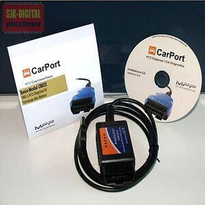 Universal Diagnose Interface OBD2 KFZ Diagnose Gerät + Carport Lizenz Software !