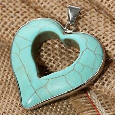 Turquoise Heart Valentine's Day gift Silver plt Pendant Necklace women jewelry