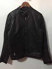 Guess Dark Brown Faux Leather CAFE RACER Jacket Zipper Men's size M