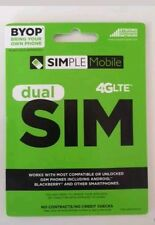 Simple Mobile Dual Sim Card Micro / Mini / Brand New / Unltd T-Mobile Network