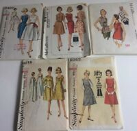 VTg Lot of 5 Simplicity McCall Sewing Patterns 1950s Women's Dresses & Top Sz 16