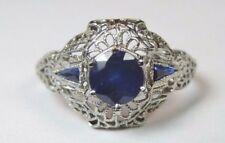 Antique Art Deco Sapphire Engagement Ring 18K White Gold Ring Size 8 UK-P1/2