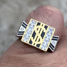 Mens 925 Sterling Silver $ Dollar Sign Black & Gold Finish Iced Bling Ring 6-13