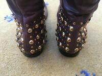 Gucci Mens Shoes Brown Leather Tall Riding Boots UK 8 US 9 EU 42 Script Studded