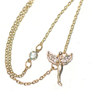 Angel Wing 2-Layer Womens Pendant Chain Necklace 9K Gold Filled Crystal Choker