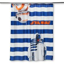 "Star Wars Blue/White Striped R2-d2 & Bb-8 Shower Curtain 72"" X 72"" in. (1 count)"