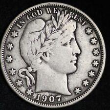 1907-D Barber Half Dollar CHOICE VF FREE SHIPPING E320 RNM