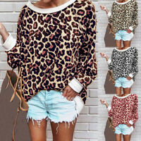 UK Women Leopard Print Long Sleeve Tops Pullover Casual Loose Shirt Blouse Plus