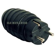Clavija schuko de Caucho Negra IP44 16A salida Recta cable, toma enchufe macho
