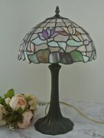 Vintage Tiffany Style Stained Leaded Glass Flowers Roses Table Lamp