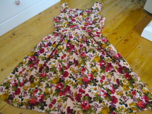 dangerfield floral vintage style fit and flare dress  10 to 12 ish