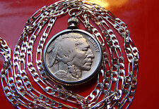"""Antique American 1913 - 1938 Buffalo Nickel on a 24""""  .925 Sterling Silver Chain"""