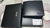 """New Designer Hugo Boss ASOLO """"50250331"""" Bi-Fold Black Leather Coin Wallet"""
