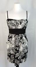 Speechless Jr L Black & White Empire Waist Tie-Back Mini Dress Spaghetti Straps