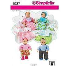 SIMPLICITY SEWING PATTERN 15 INCH (38CM) BABY DOLL CLOTHES DRESS TOP HAT  1937