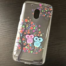 For Motorola Moto G4 PLAY - Clear TPU Rubber Case Cover Love Tree Hearts Owls