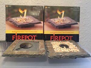 BIRDBRAIN FIREPOT Authentic Slate- Hand Made- Lot Of 2-Indoor/Outdoor NEW