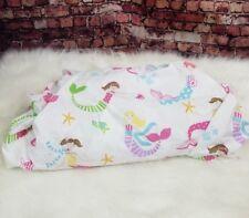Pottery Barn Teen Organic Mermaid Tuck In Sheet Queen Size White Pink Green