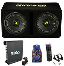 """Kicker 12"""" Full Package - Subwoofer Enclosure, Amp, Capacitor, and Amp Kit"""